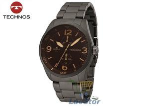 Relogio Technos 6p23al/1m Golf Aço Cinza/marrom Masculino