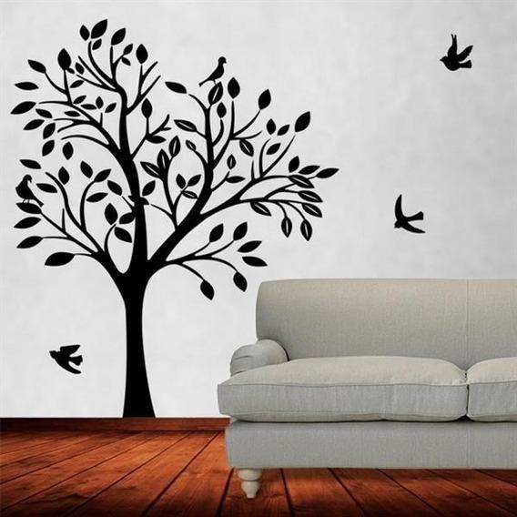 Adesivo De Decoração Parede Sala Quarto Árvore Pássaros