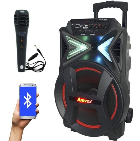 Caixa Som Amplificada 290w Bluetooth Portátil + 1 Microfone