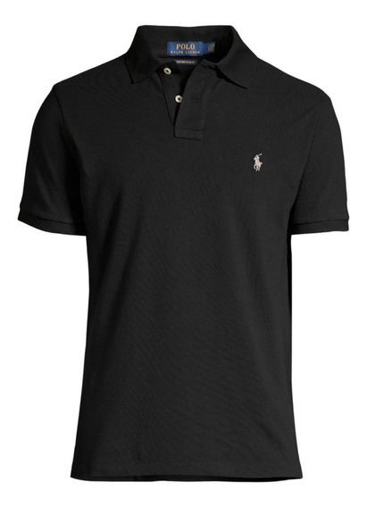 Chombas Pique Custom Fit Black Polo R Lauren