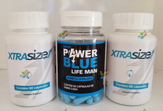 Xtrasize 60 Cáps 2 Uni + 1 Power Blue 500mg + 2 Brindes