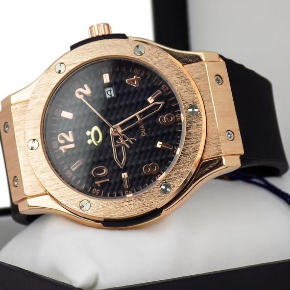 Relógio Masculino Correia De Borracha + Caixa A Prova D