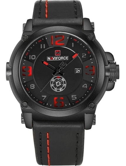 Relógio Masculino Militar Esportivo Naviforce Pulseira/couro