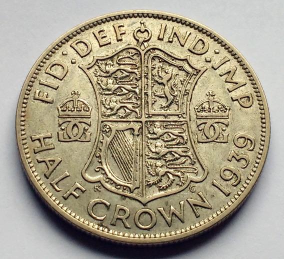 Moneda De Gran Bretaña, 1/2 (half) Crown 1939. Plata.