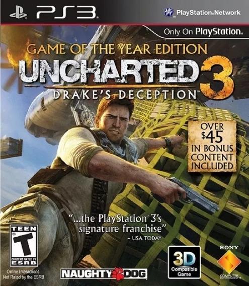 Uncharted 3 Ps3 Play3 Ps3 Psn Jogo Original Envio Rápido