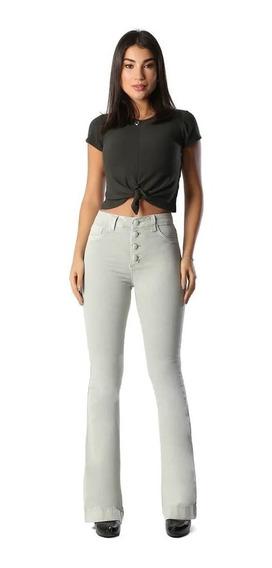 Calça Jeans Feminina Flare Verde Claro Cintura Alta Sawary