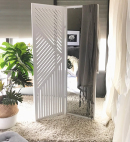 Biombo Con Espejo 105 X 170 + Chalina Diseño Moderno Madera