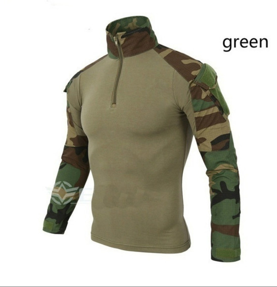 Camisa Combat Shirt Tatica Airsoft Paintball Foxboy, Verde