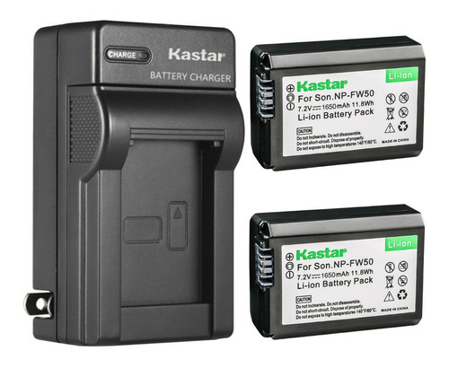 Imagen 1 de 2 de Cargador + 2 Baterías Sony Np-fw50 Kastar Npfw50 Oferta!