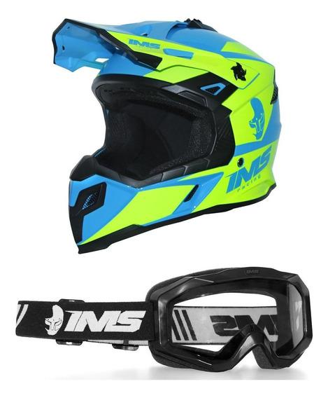 Capacete Motocross Ims Sprint Neon Azul Com Óculos Preto