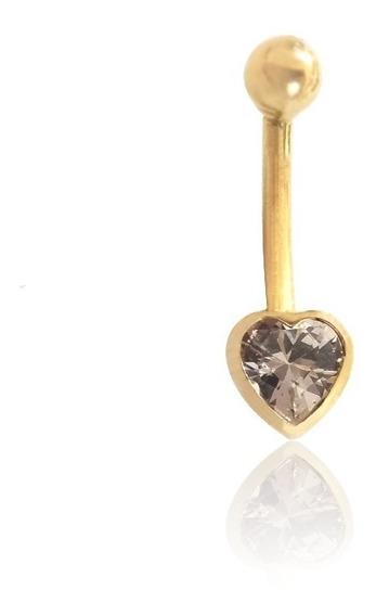 Piercing De Umbigo Coração Com Zircônia Em Ouro 18k