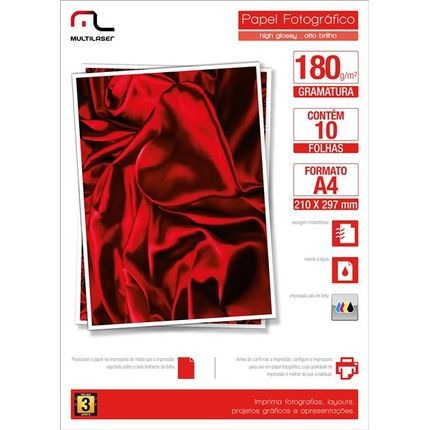 Papel Multilaser Fotografico Glossy A4 180g/m2 10fls - Pe030
