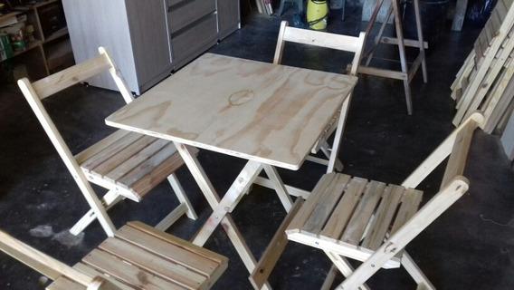 Conjunto De Mesa C/4 Cadeiras , 70x70 Dobrável Em Madeira