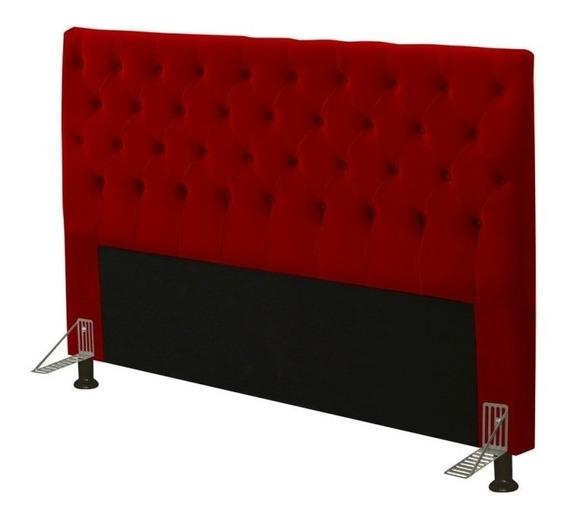 Cabeceira de sommier JS Móveis Cristal Casal 140cm x 126cm Camurça vermelha