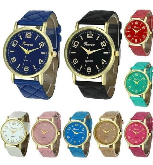 Kit 10 Relógios Femininos Geneva Atacado Dourado Promoção