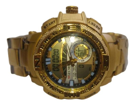 Relógio Masculino Dourado Aço Frete Gratis No Mercado Livre