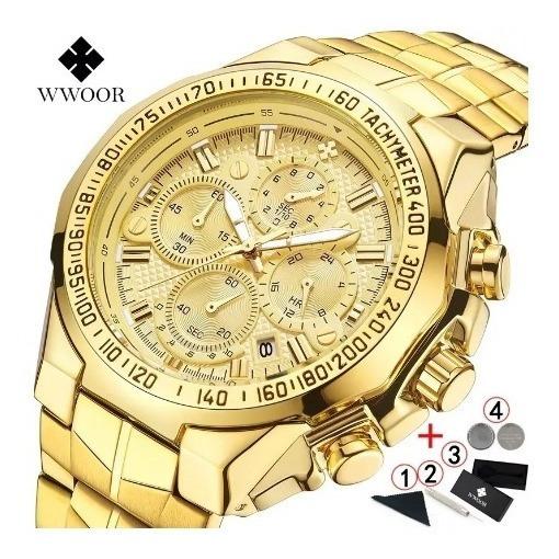 Relógio Wwoor Multifunçõe Sub-dials 100% Funcionais Dourado