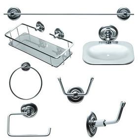 Kit P/banheiro Inox Completo 7 Peças 5 Anos De Garantia