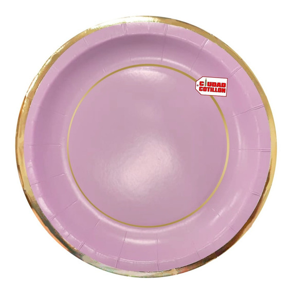 Plato Colores Pasteles Bordes Dorados X 10 Descartable - Cc
