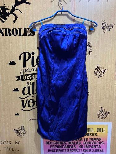 Vestido Strapless   Fiesta   Azul Marino   Cierre En Espalda