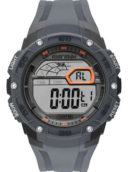 Relógio Masculino Digital Cinza E Laranja Mormaii Wave