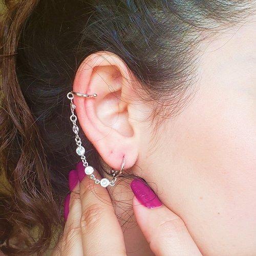 Brinco Feminino Ear Line Zircônias Brancas Ródio Branco