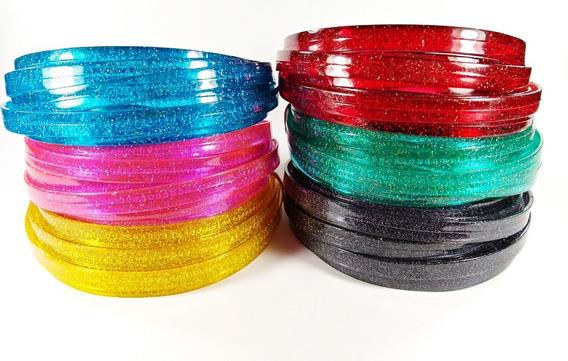 Tiara Poliana Colorida Dentinho Com Gliter Flexível - 24 Pçs