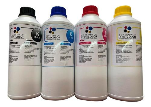 Imagen 1 de 5 de Pack 4 Litro Tinta Dye Para Impresora Epson Canon Lexmark