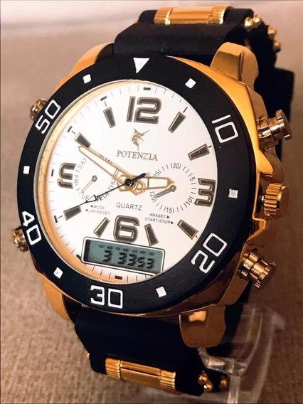 Kit 5x Relógio Luxo Dourado Militar Potenzia Barato + Caixa!