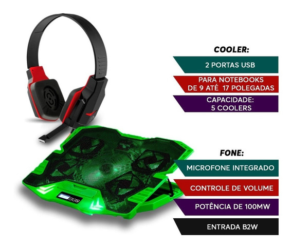 Kit Head Fone Gamer Warrior + Power Cooler Base Notebook