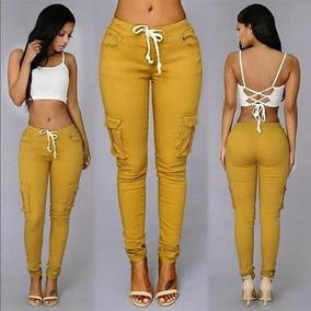 Jeans Stretch Moda Regalo Mujer Lápiz... (l, Khaki)
