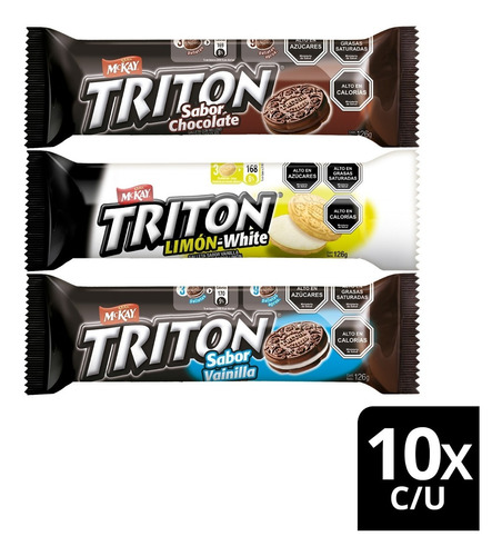 Galletas Triton® Sandwich Tres Sabores 126g Pack X30