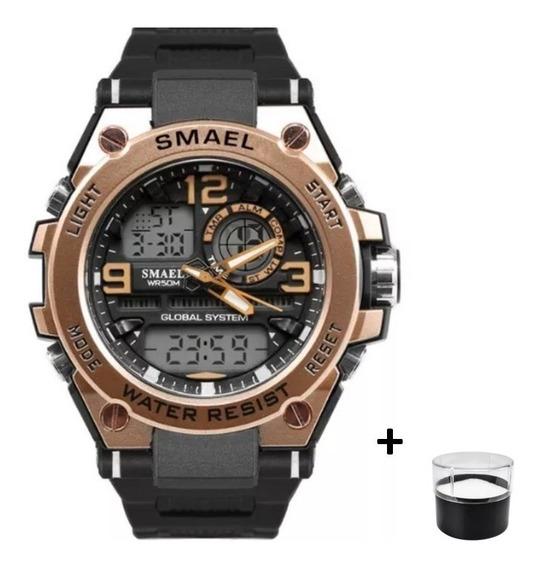 Relógio Militar Dual Time Gold Esportivo Original Smael 5bar