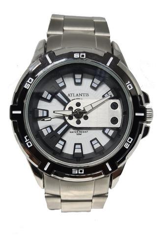 Relógio Masculino Exclusive Original Atlantis  Prata+ Caixa