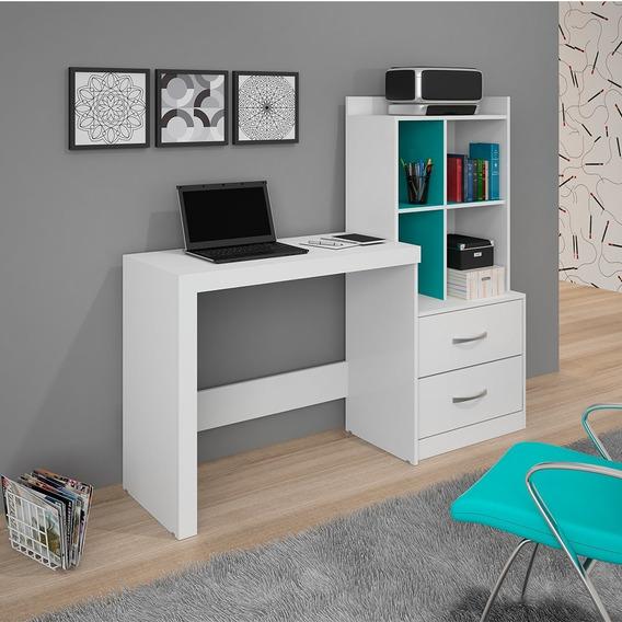 Escrivaninha Mesa Com Estante 2 Gavetas Alana Jcm Móveis Bra
