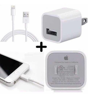 Cargador Original iPhone Xs Max X 8 7 6 Cable + Cubo Apple