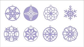 Vectores Navideños Navidad Corte Laser Esferas Copos/nieve