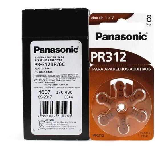 60 Pilhas Baterias Aparelho Auditivo Pr312/ Pr41 Panasonic