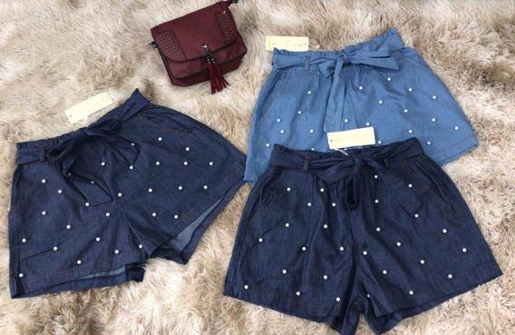 Short Curto Jeans Femin Laco Cinto Pérolas Bolsos Verao Moda