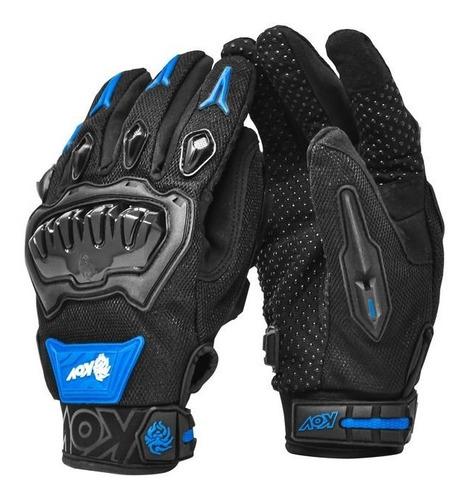 Guantes Para Moto Kov Delta Azul Con Limpiador De Mica
