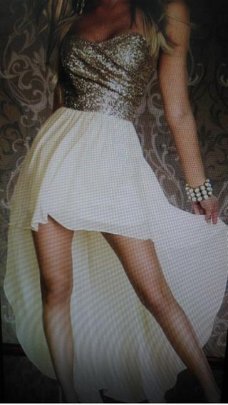 Vestido De Fiesta Dorado Con Chifon Beige