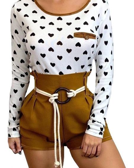 Shorts Feminino Bengaline Cordão Argola Hot Pants Blogueiras
