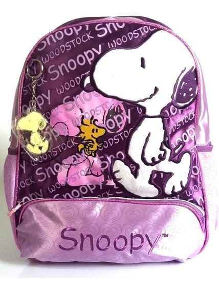 Mochila Infantil Snoopy Roxa Costas Tam G Notebook Peanuts