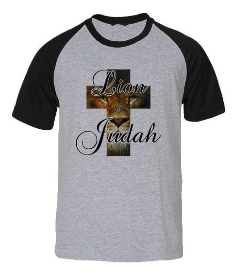 8 Camisas Camiseta Raglan Evangélica Leão Da Tribo De Judá