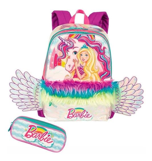 Kit Mochila C/led E Estojo Duplo Escolar Infantil Barbie Dre