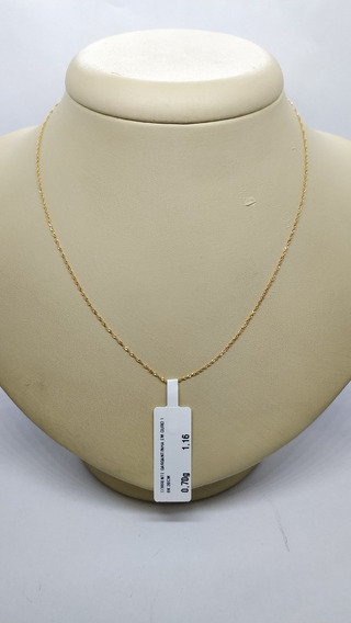 Corrente Gargantilha Em Ouro 18k 39 Cm 0,70g