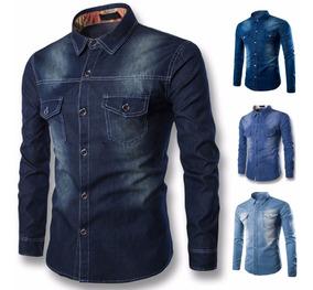 Kit Com 15 Camisas Jeans Denim Slim Masculina Pronta Entrega