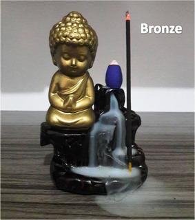 4 Incensários Mini Buda Cascata Fumaça Com +35 Incensos Cone