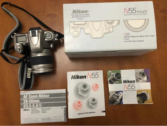 Câmera Fotográfica Analógica Nikon N55 Com Acessórios