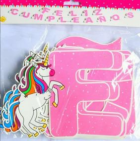 Letrero Feliz Cumpleaño Unicornio Banderin Decoracion Pancar